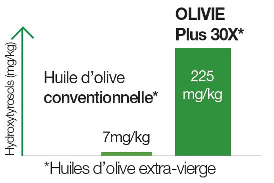 Shéma représentant la différence de la teneur en polyphénols de l'huile d'Olive Olivie Plus