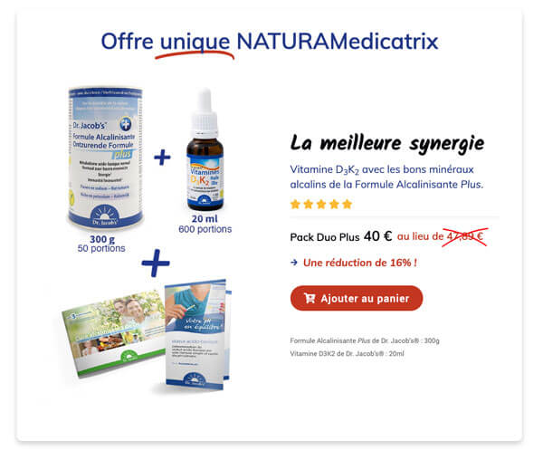 Toute l'importance de la combinaison de la vitamine D3K2 et de la Formule Alcalinisante Plus de Dr. Jacob's® !