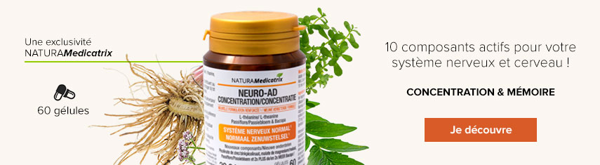 Neuro-AD Concentration : 10 composants actifs pour votre système nerveux et cerveau