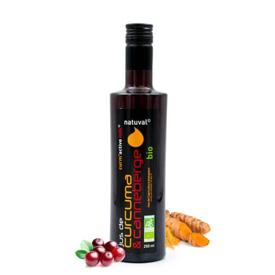 Jus de curcuma et canneberge (cranberry) - 250ml - Natuval®