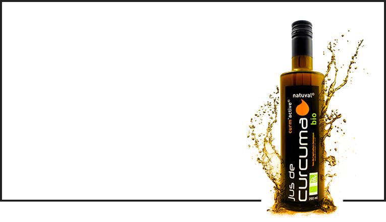 Jus de curcuma pressé naturellement riche en curcumines et huiles essentielles