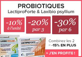 Jusqu'à -45% sur les probiotiques